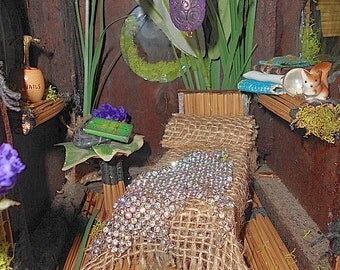 Willow Bloome Woodland Fairy, Faerie House Safari / Tiki Hut One of A Kind Sculpture