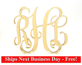 Unfinished Wooden Monogram for Individuals or Couples - Home Decor, Great Gift, Door Hanger or Even for Weddings