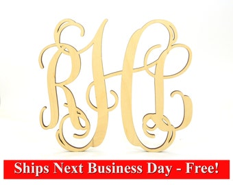 """Get it FAST 3 Letter Wooden Monogram UNPAINTED, 2"""" - 36"""" Large Wooden Monogram Sale - Decoration, Personalized Custom Wall Hanging Gift"""