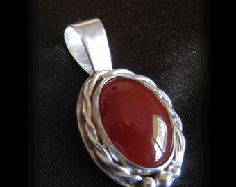 Carnelian and Sterling Pendant