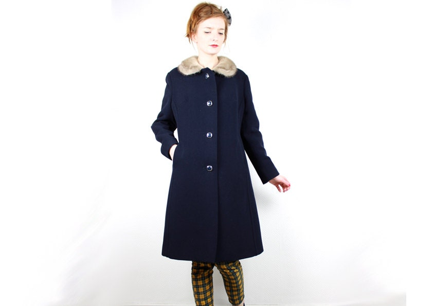 French Vintage 1960s Long Wool Coat Navy Blue Coat Amp Cream