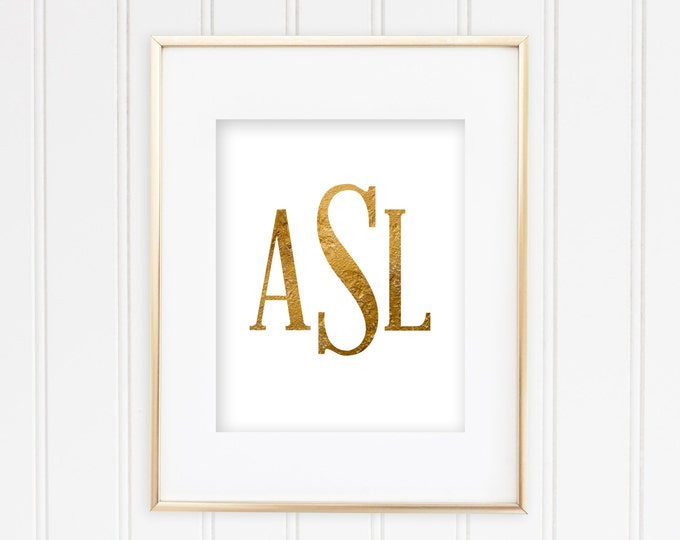 Custom Monogram Print - 1 - Real Foil