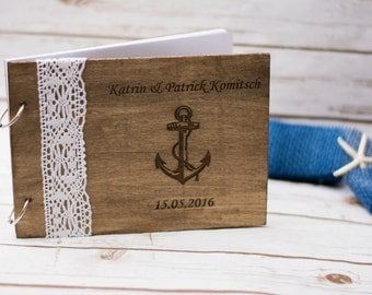 Beach Wedding Guest Book Anchor Starfish Rustic Guestbook Pen Personalized Nautical Wooden Guest Book