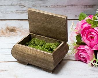 Rustic Wedding Ring Box Moss Ring Bearer Pillow Box Ring Holder Moss ring box Personalized ring holder