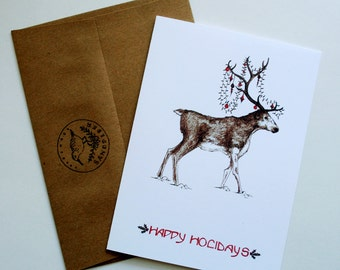 Happy Holidays Deer Red Tint