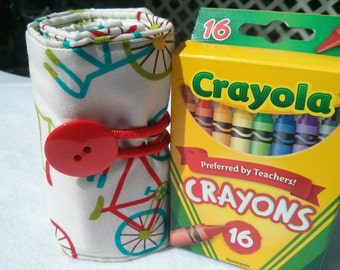 Kids Crayon Holder (Holds 16 Pack of Crayons!) - 100% Cotton Modern Bicycle Print with Green Polka Dots *FREE Pack of Crayola Crayons!