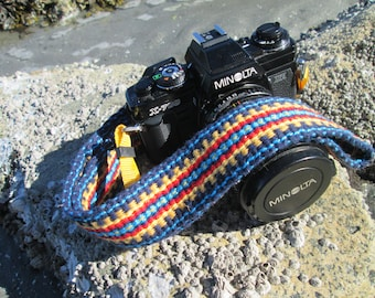 Custom Handwoven Camera Strap, Comfortable Cotton in Southwestern Colors, Leather or Vegan Camera Strap Ends