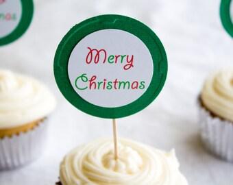Merry Christmas Cupcake Topper, Christmas Cupcake Topper, Holiday Topper, Food Topper (12ct)