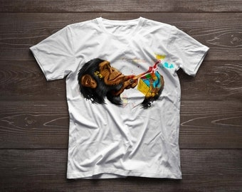 """Hand Painted t-shirt """"Monkey on the edge"""""""