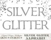 Silver Glitter Alphabet,Silver Glitter Letters,Block Font Glitter Numbers,Glitter Clip Art,Sparkle Letters,Silver Sparkle Alphabet