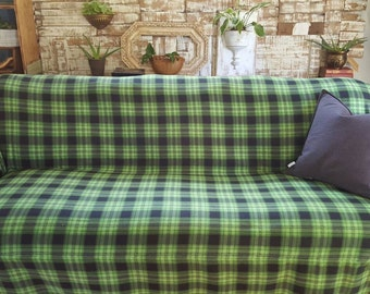 New Design No-Pill Fleece Kelly Green/Black Plaid Couch Slipcover/SofaScarf Pet Throw. Only 1 available