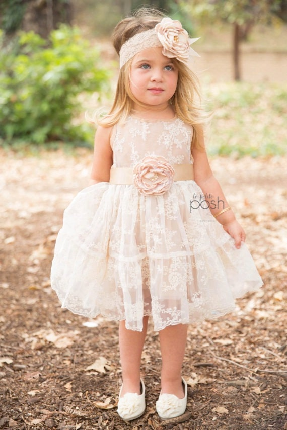 flower girl dress, flower girl dresses, lace baby dress, rustic girl dress, lace flower girl dress, country flower girl, champagne dress