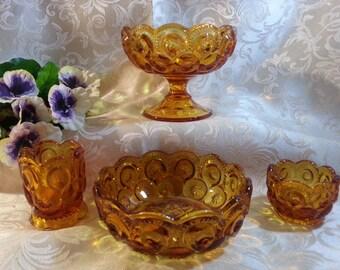 Vintage Set of Amber Moon & Stars Glass
