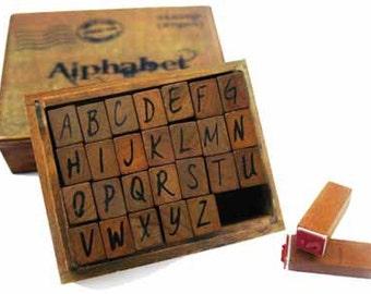 Wood alphabet stamp- upper case