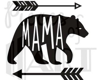 Mama Bear iron on vinyl transfer for shirt,bag, etc