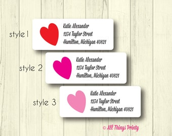 Heart Return Address Labels - Personalized Pink or Red Love Mailing Stickers - Wedding & Engagement - Matte White, Kraft, or Clear Gloss
