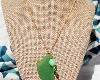 Genuine sea glass pendant necklace, large green glass with beads