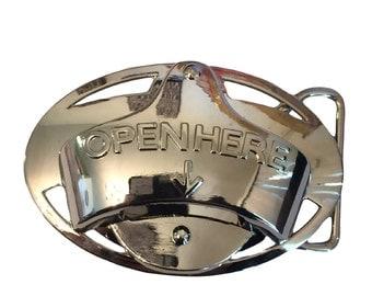 Open Here Beer Bottle Opener Belt Buckle