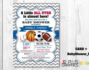 little all star baby shower invitation for boy little all star