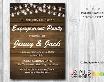 INSTANT DOWNLOAD Engagement Invitation, Rustic Lights Engagement Party Invitation Printable, Invites Template Instant Download Editable pdf