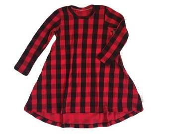 Girl's Buffalo Plaid High-Low long sleeve dress