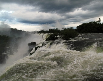 Nature Photography, Landscape, River, Waterfall, Travel Photography, Ready to Hang Art, Argentina, Iguazu Falls, Parana, Wall Art