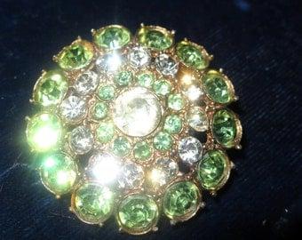 1950s vintage  green rhinestone brooch