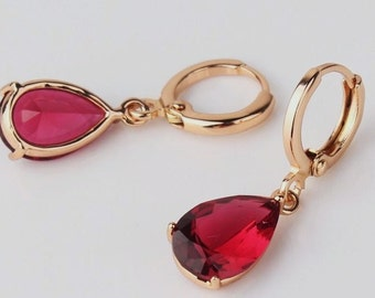Lovely 18 ct rosegold filled garnet drop earrings