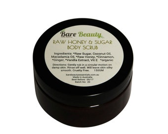 150gm Raw Honey & Sugar Body Scrub with coconut oil, cinnamon and vitamin E