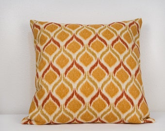 CLEARANCE SALE, Pillow Cover in Persimmon Size 20 x 20,  Ikat Pillow Cover in Persimmon Brick and Gold with Invisible Zipper Closure
