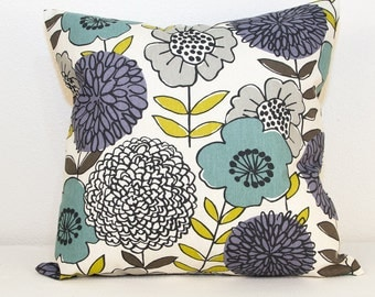 One Modern Floral Pillow Cover in Aqua Green and Purple, Modern 20 x 20 Pillow Cover with Zipper Closure,