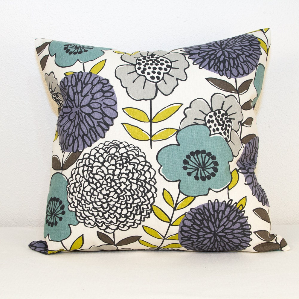 Modern Floral Pillows : One Modern Floral Pillow Cover in Aqua Green and Purple