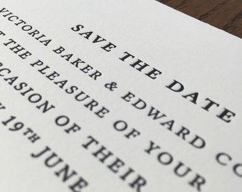 Letterpress save the date: Traditional, Luxury, Hand printed, Wedding stationery