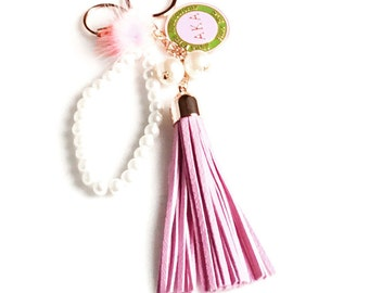 AKA Sorority Tassel Logo Key Chain/Purse Accessory AKA231