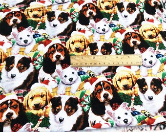 """1 Meter Dogs Printed Fabric 100% Cotton Designer Fabric Good Quality Sewing Quilting Cloth 43"""" / 110cm Wide"""