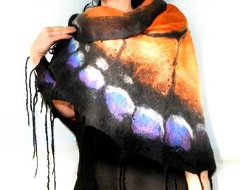 "Free shipping! Nuno felted  shawl Butterfly.Nuno Felted Shawl Art Felted Wool and Silk Scarf. Large triangle scarf, ""Butterfly Danaidae"""