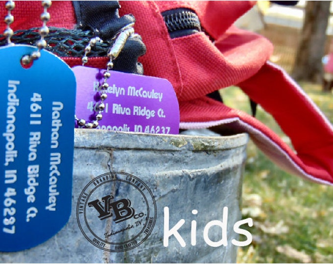 Backpack Tags, custom luggage tags, personalized bag tags, front and back customized, ID tags for kids, Back to School SALE!!!