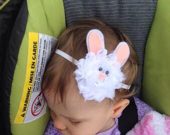 White Bunny headband/clip