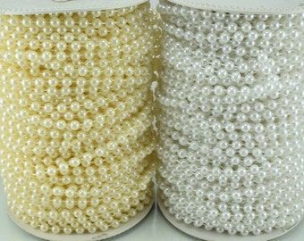 5mm Plastic Pearl Roll 40 Yards White/Creamy Wedding Pearl Beads on a Spool, Roll, Acrylic Beaded Garland Strand