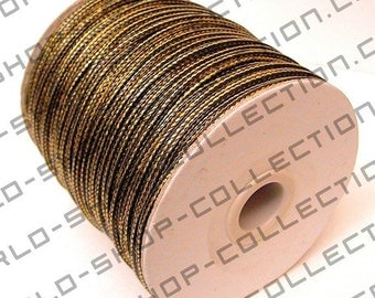 Wax Nylon Thread Two Colors Black & Gold 2.5mm Cord for Jewelry or Fashion Making Item #100159