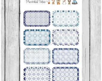 Mini Sticker Sheets  - portugese tiles half boxes - planner stickers