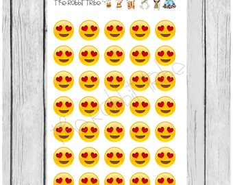 Mini Sticker Sheet - heart eye emojis - planner stickers
