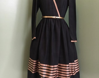 1950's Style Black Faille Dress with Gold and  Champagne Grosgrain Ribbon Trim / vintage 1950's dress / 1950's dresses