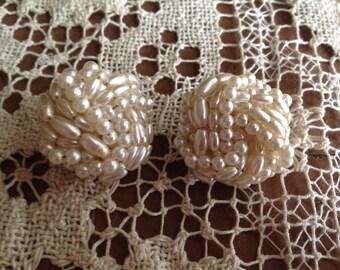 Faux pearl ear rings