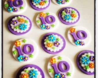 24 x  floral bright party fondant Cupcake Toppers
