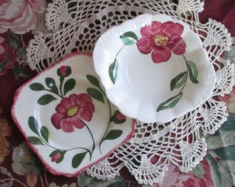 Blue Ridge Southern Potteries Red Nocturne, Vintage Hand Painted Dishware