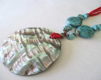 SHELL Pendant Necklace * PAUA ABALONE * Three Strand * Carnelian Stone Beads * Ocean Beach Jewelry