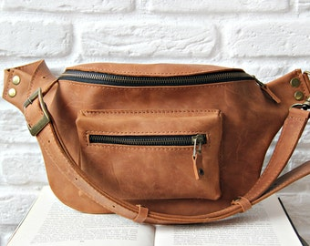 Leather hip bag, fanny pack, waist purse made of leather, handmade, handcrafted, cognac color