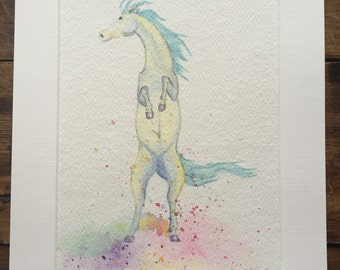 Bright & colourful original watercolour painting of a rearing Stallion Horse