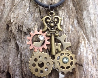 Steampunk necklace, gift for her, valentines gift, steampunk charm, steampunk pendant , steampunk charm, Gear&key with bling, steampunk key